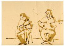 Bato, Iguana e Ugo Redolfii dei Fleurs du Mal, penna biro su carta cm 35x23. Roma 2007