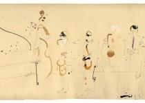 2013 06 29 Bato, Saxophone Summit Guest Osian Roberts, tecnica mista su carta cm 55,7x24,5 Potenza,Teatro Stabile