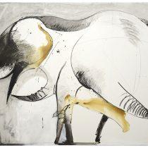 Bato, Elefante grigio Thai, cm 150x200, tecnica mista su tela