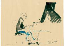 Bato, Nico Menci, tecnica mista su carta cm cm 23x35 ca. Potenza, international Jazz Festival 28/06/2013