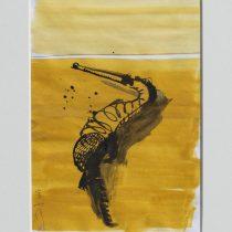 Bato, Coccodrillo nero, tecnica mista su tela, cm 19x13